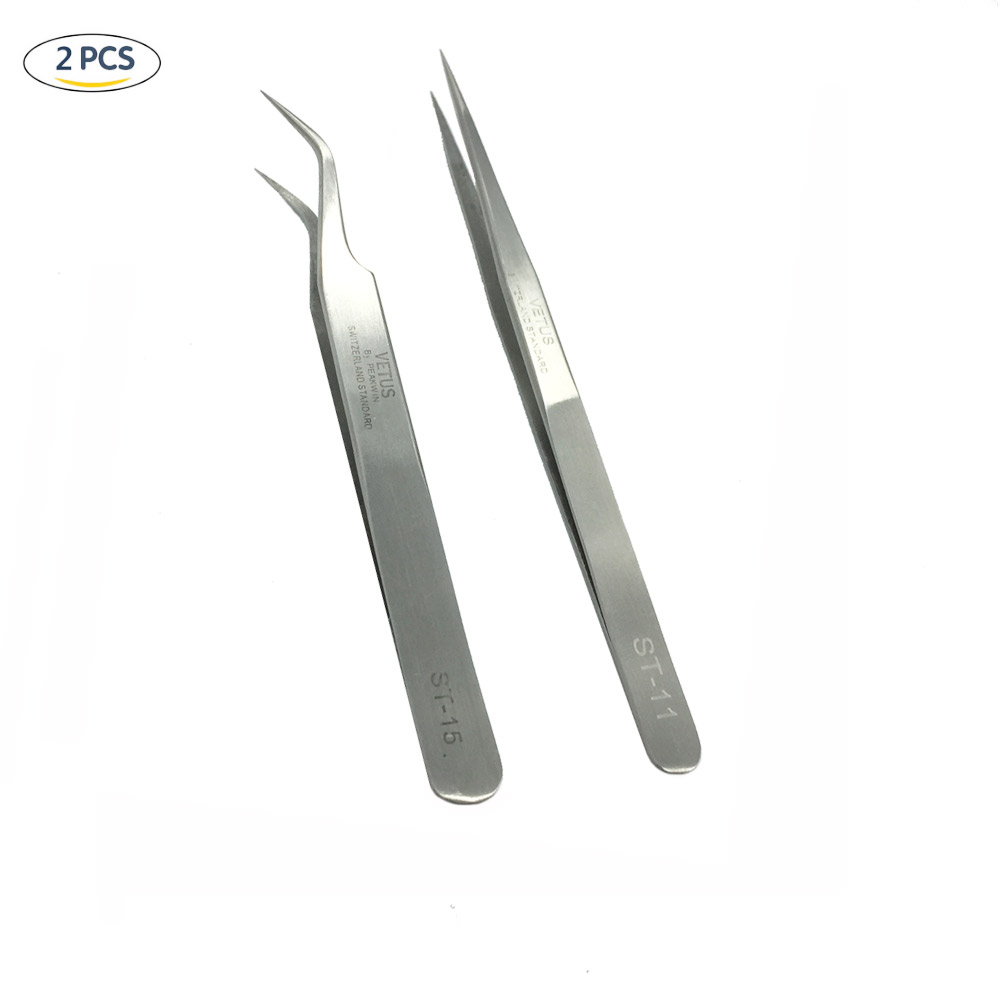 New High Quality  2pcs/Set ST-11 + ST-15 Stainless Steel Precision Tweezers Set Eyelash Extensions