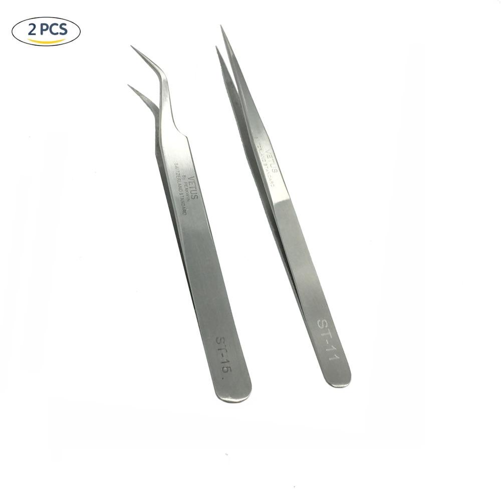 Nauji aukštos kokybės 2 vnt. / Rinkinys ST-11 + ST-15 nerūdijančio plieno tikslių pincetų rinkinys blakstienų priauginimui