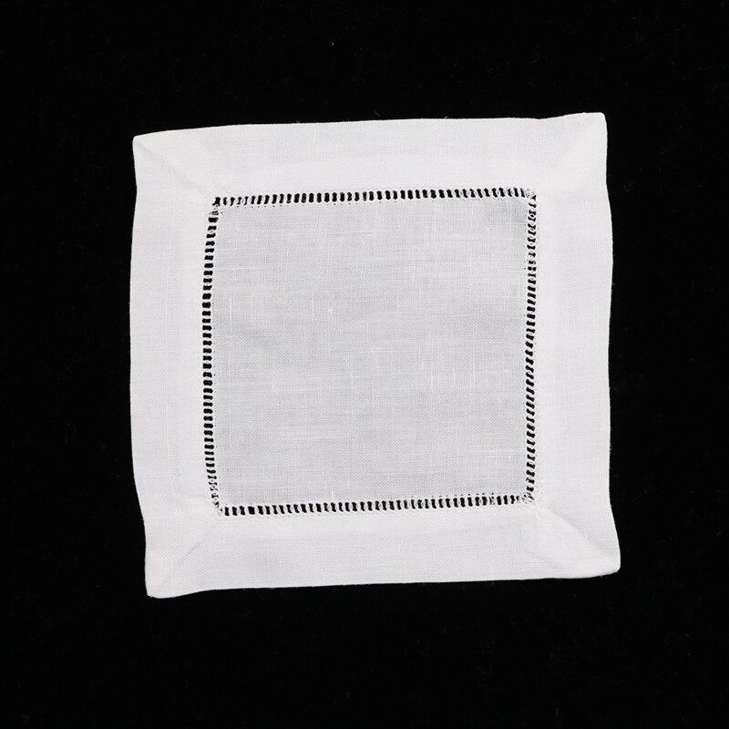 N002 6 120 piece White Linen Cotton Hemstitched Cocktail Napkins 6 X 6 Ladder Hem Stitch