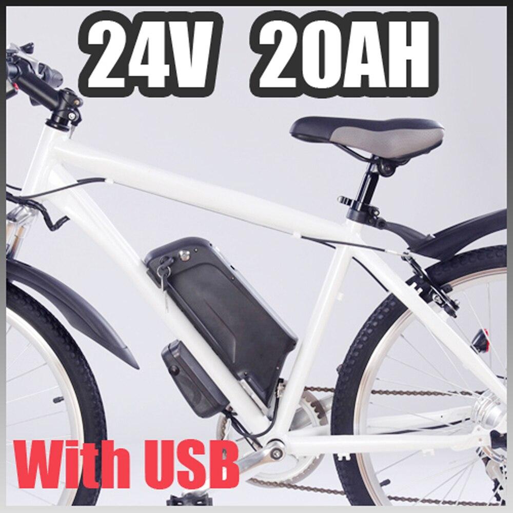 Elektrická baterie 24v 20ah, elektrická jízdní kolo, 24v ebike, trubka s USB portem EU a US Free Customs