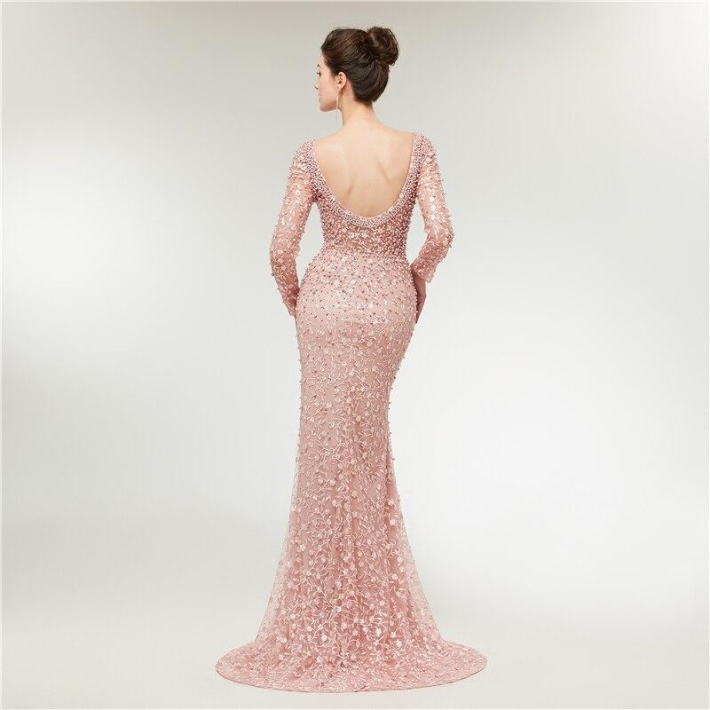 Luxe robes de soirée dentelle 2019 sirène manches longues perles cristaux rose femmes formelle Robe de soirée Robe de bal Robe de soirée - 3