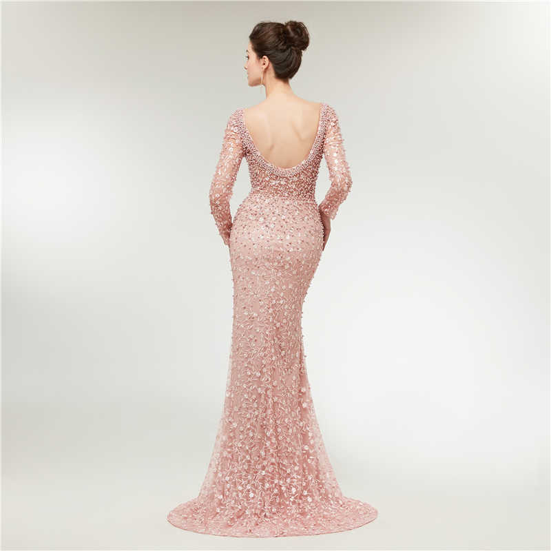 ... Luxury Evening Dresses 2019 Mermaid Long Sleeves Pearls Lace Embroidery  Pink Women Formal Party Gown Prom ... 0fd68ba0e8c4