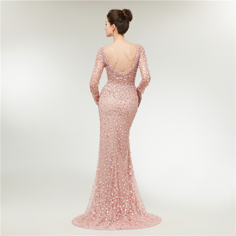 Luxury Pink Evening Dresses Long Sleeves Mermaid Lace Pearls Dubai Saudi Arabic Formal Evening Gown Prom Dress Robe de Soiree