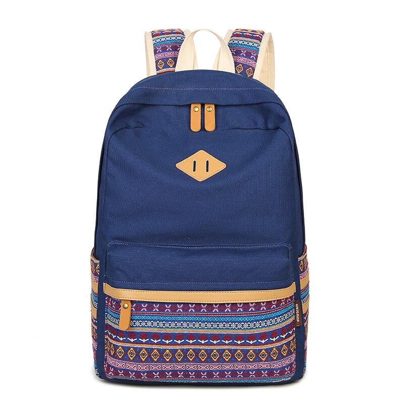 Ecoparty Winner Brand Women Geometric Backpack Bag Canvas Schoolbag for Teenagers Girls Rucksack Floral Printing Packbacks