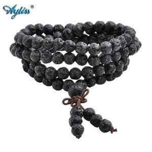 Image 1 - Ayliss Drop Schiff Lava Stein Diffusor Armbänder 108 Perlen Reiki Healing Balance Buddha Gebet Männer Frauen Armband Halskette Schmuck