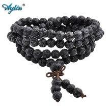 Ayliss Drop Ship Lava Steen Diffuser Armbanden 108 Kralen Reiki Healing Balans Boeddha Gebed Mannen Vrouwen Armband Ketting Sieraden