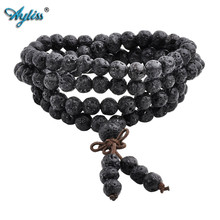 Ayliss Drop Ship Lava Stone Diffuser Bracelets 108 Beads Reiki Healing Balance Buddha Prayer Men Women Bracelet Necklace Jewelry