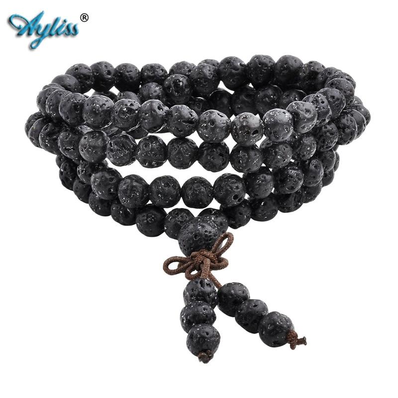 Ayliss hot moda pedra de lava 6mm / 8mm 108 contas pulseiras cura equilíbrio reiki buddha oração pulseira para mulheres dos homens jóias
