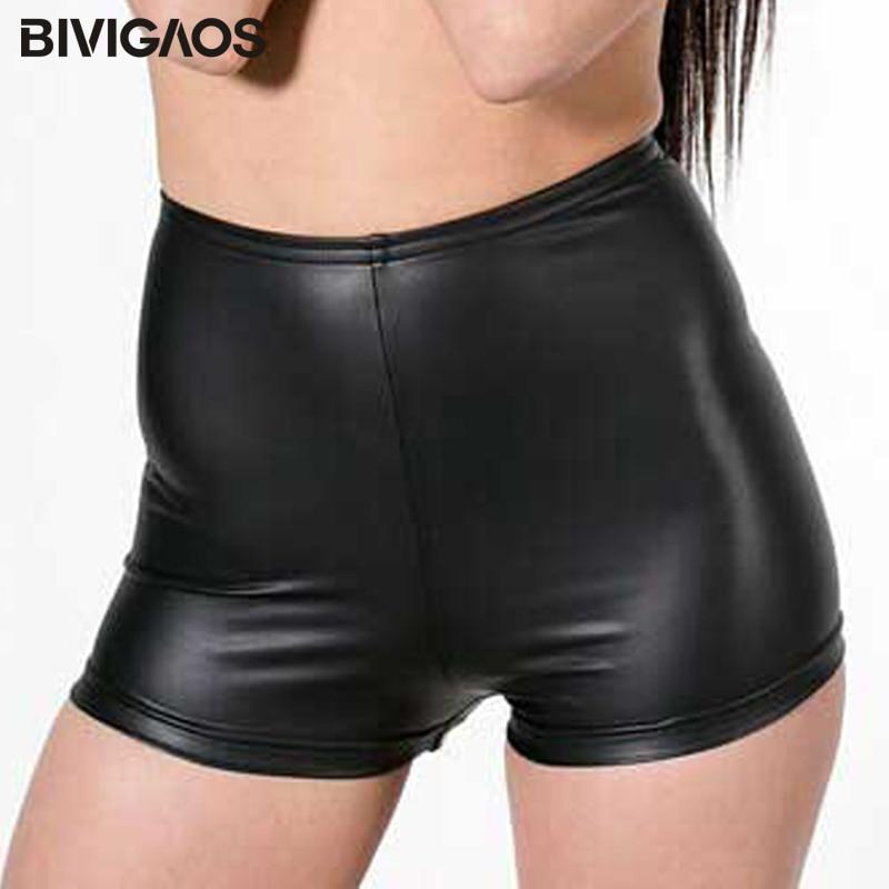 BIVIGAOS Hot Sale Womens Faux Leather Tight PU Shorts Euramerican Fashion High Waist Shorts WORK OUT Sexy Short Shorts Women