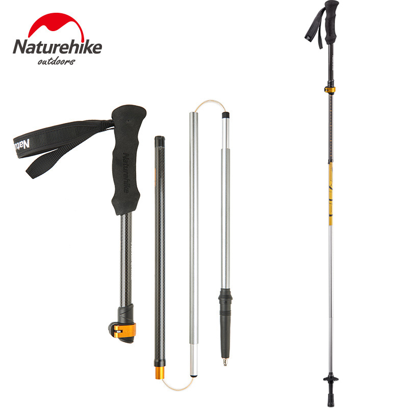 NatureHike foldable light Walking Stick Carbon cane Adjustable pole portable Hiking Alpenstocks folding Trekking Climbing Sticks