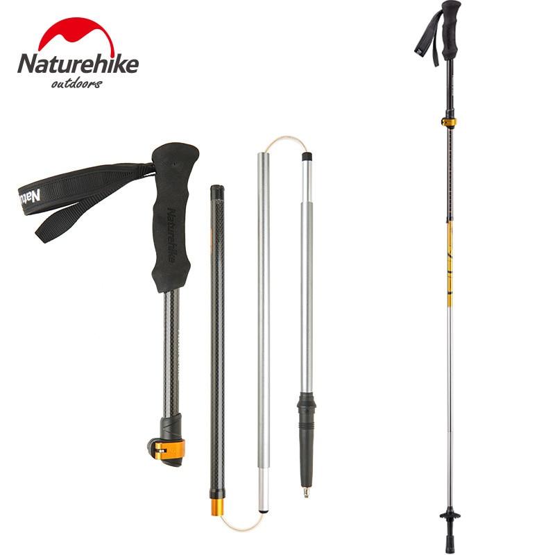 NatureHike foldable light Walking Stick Carbon cane Adjustable pole portable Hiking Alpenstocks folding Trekking Climbing Sticks