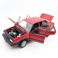 Diecaste 1:18 model car 1989 metal high simulation Volkswagen red Jetta GT car door can open collection toy car