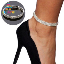Купить с кэшбэком Anklet Jewellery Elastic Crystal Anklet 1-5 Row Crystal Rhinestone Ankle Bracelet Cheville Femme Gift
