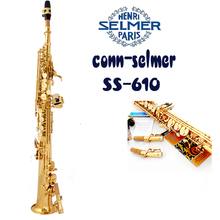SELMER SS-610 Stright Soprano Saxophone Of B flat Professional Gold plated sax And mouthpiece Top musical instruments