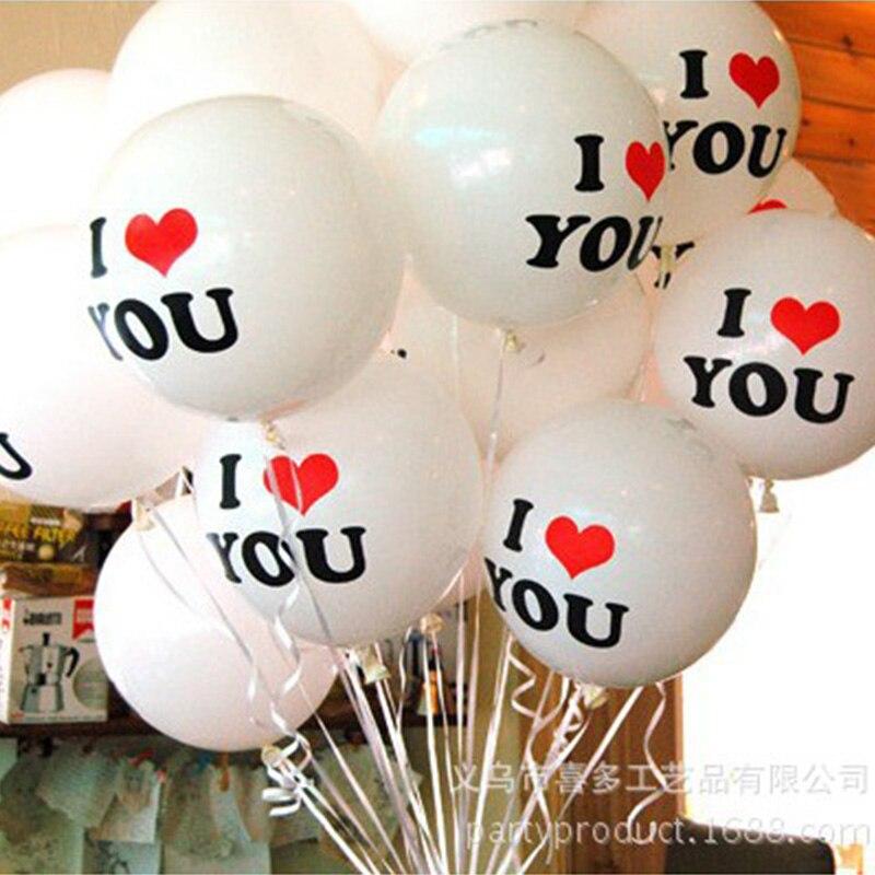10 piezas 10 pulgadas I-love-U globos de látex decoración de fiesta de boda Día de San Valentín # cortejo/ woo/propuesta de matrimonio