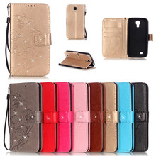 цена на Bling Wallet Leather Case Luxury Butterfly Coque Cover for Samsung Galaxy S4 I9500/S4 Mini I9190 Capa Fundas With Card Slot