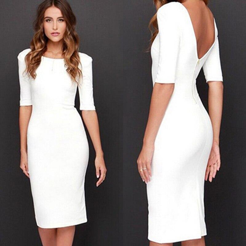 Sexy Club Backless Dress Women White Sheath 2019 Fashion Party Summer Bodycon Dress Zipper Vestidos De Fiesta
