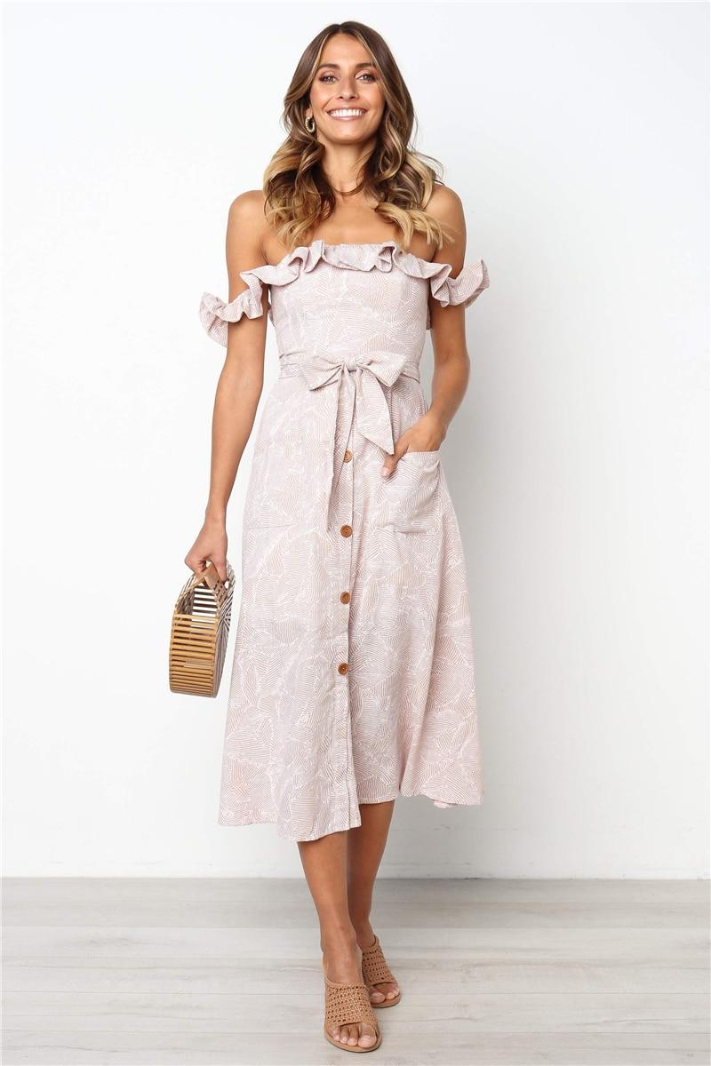 d70f4b90c4 BHflutter Ruffles Elegant Party Dress Women Off Shoulder Buttons ...