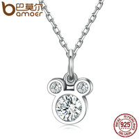 BAMOER New Arrival Genuine 925 Sterling Silver Dazzling Miky Mouse Pendant Necklaces For Women Fine Jewelry