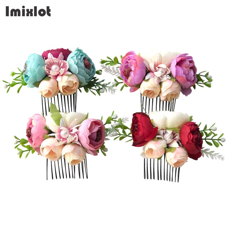 Imixlot Artificial Flower Children Hair Accessories Pearl Flower Bridal Hair Comb Women Wedding Hair Jewelry 4 Colors