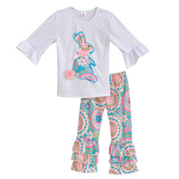 Factory Selling Girls Spring Clothes Set White Top With Bunnie Sticker Colorful Vintage Pattern Pants Cotton