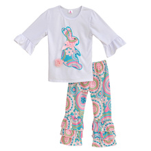 Filles Printemps Vêtements Set Top Blanc Avec Lapin T Chemises Coloré Vintage À Volants Pantalon Enfants Vêtements Boutique Coton Tenues E001