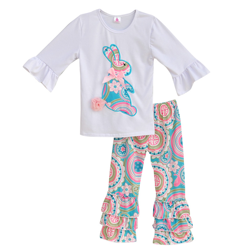 Girls Spring Clothes Set Easter Bunny T-Shirts Colorful Vintage Ruffle Pant Kids Clothin ...