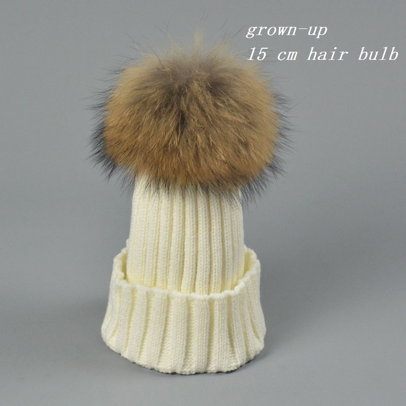 bonnet Winter knitted hat beanies 100% real mink fur pom poms skullies female hat for women girls hat feminino mixing wool hats