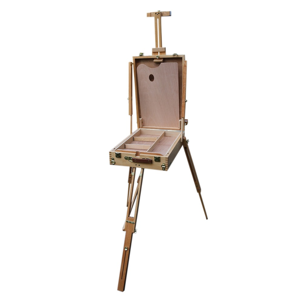 Professional and Durable Wooden Tripod Art Easel Portable Sketch Drawing Box Artist Painting Foldable Art Easel transon foldable wood easel tabletop easel for artist painting and display sketch easel art supplies