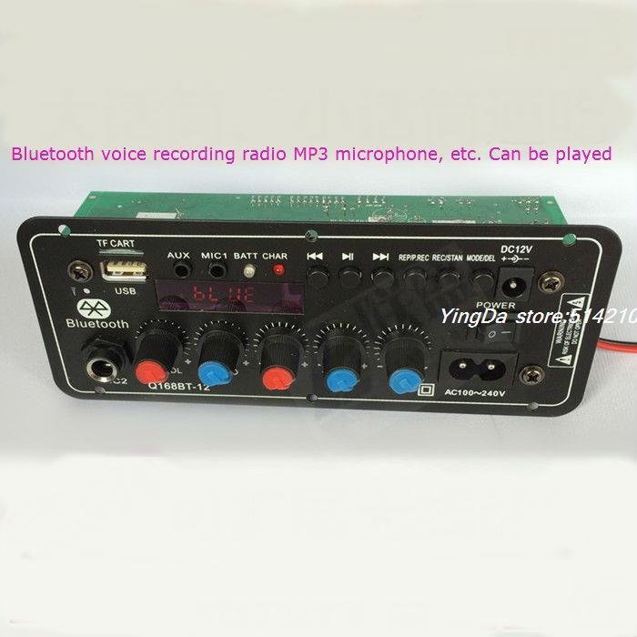 12 V batterie stéréo audio amplificateur de puissance carte carrée danse 220 v karaoké bars boîte bluetooth carte mère support FM