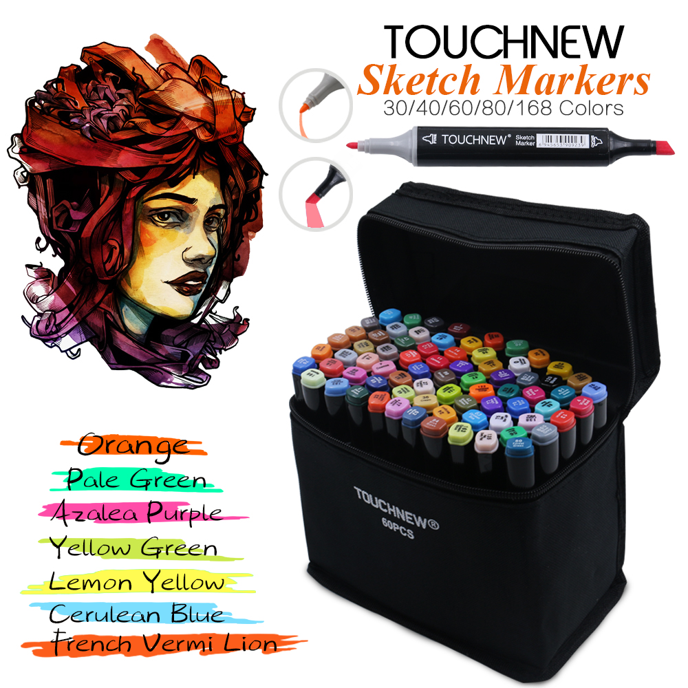 TOUCHNEW Marker  30/40/60/80 Colors Artist Dual Headed Marker Set Manga Design School Drawing Sketch Markers Pen Art Supplies touchnew 168 colors artist painting art marker alcohol based sketch marker for drawing manga design art set supplies designer