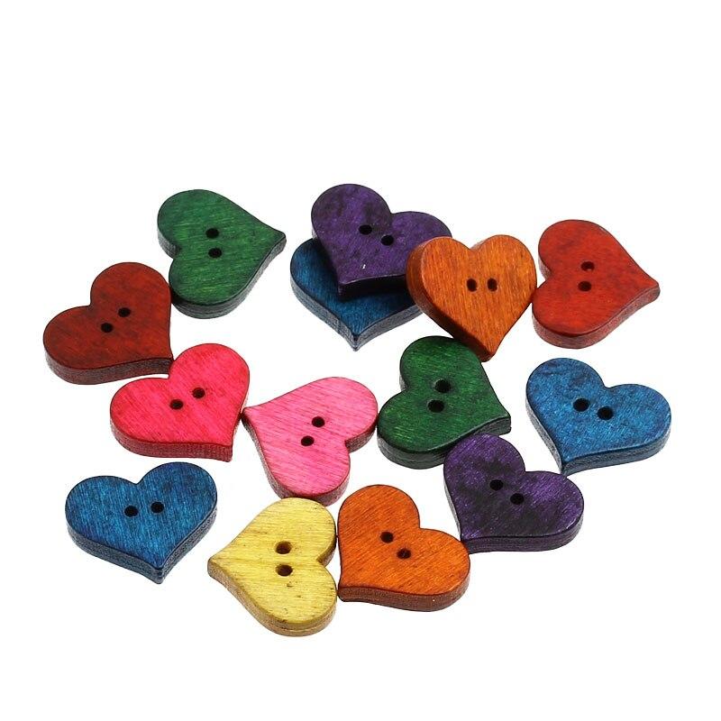 100 Pcs cores misturadas 2 furos coração de madeira botões de costura e Scrapbook Fit fazer 20 x 16.5 mm