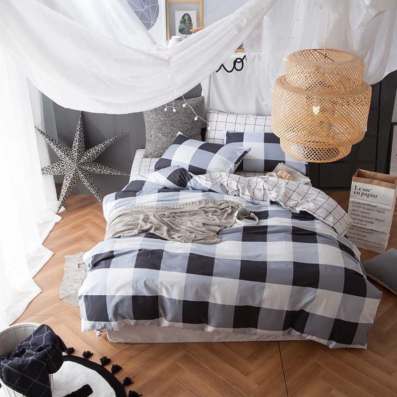 cold color 100 cotton bedding set kids duvet cover set queen double single size modern plaid quilt cover pillowcase bedspread - Modern Duvet Covers