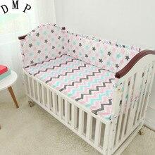 Promotion 5PCS Cartoon Baby Crib Bedding Set Cot Kit Applique Embroidery 4bumper sheet