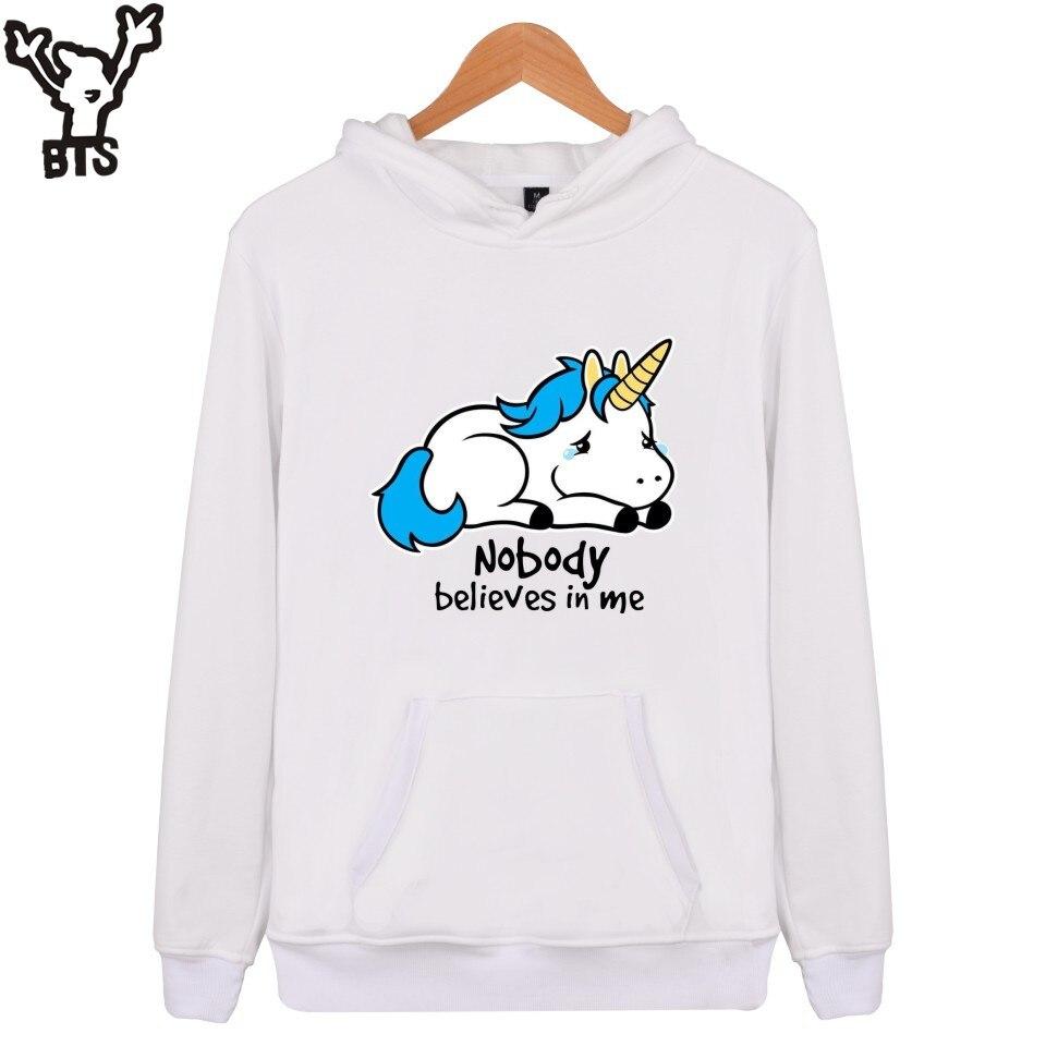 BTS Unicorn Hooded Sweatshirt Men Hoodies Men Hip Hop Long Sleeve Fashion Sweatshirt Mens Hooded Plus Size Casual Pullovers XXS