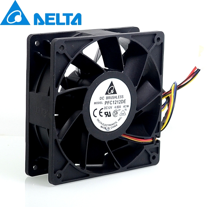 2pcs New 12038 12CM high speed fan 12V  4.8A PFC1212DE violence 120*120*38mm delta afb1212hhe 12038 12cm 120 120 38mm 4 line pwm intelligent temperature control 12v 0 7a