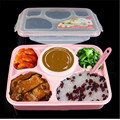 24*18*7cm Kids Lunch Box Food Grade Material Microwave Heating Mess Tin Four Or Five Grids With A Soup Bowl Sealed Lunch Box
