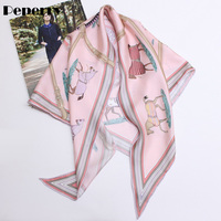 Horse Scarf Triangle Scarf for Women Neck Head Bag Hat Ribbon Luxury Brand Designer Multifunctional Scarf 135*85cm