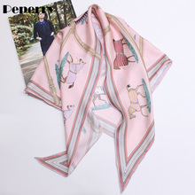 Horse Scarf Triangle for Women Neck Head Bag Hat Ribbon Luxury Brand Designer Multifunctional 135*85cm
