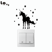 Creative Horse with Stars Silhouette Switch Sticker Cartoon Animals Vinyl Wall Stickers for Kids Room Home Decor