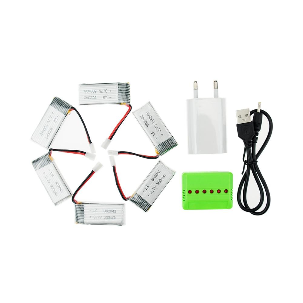 3 7 v x5c 6pcs 3 7V 500mAh 802042 Lipo Battery with x6 charger JJRC H37