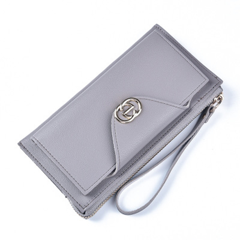 Womena Fashion Brand Sweet Button Handbag Large Zipper Clutch High-quality Leather Change Bit Mobile Phone Package Women Wallet