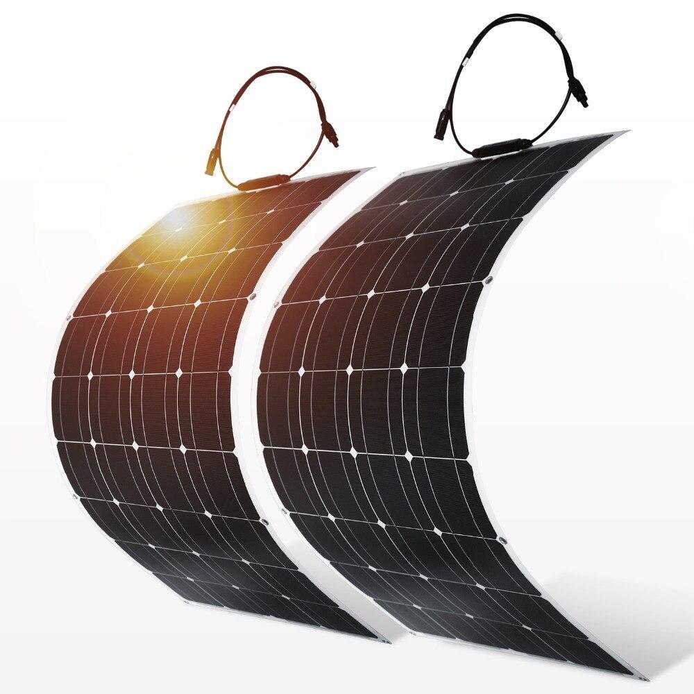Dokio 4 pièces 8 pièces panneau solaire 100 W cellules solaires monocristallines Flexible pour la voiture/Yacht/Steamship 12 V 24 Volts 100 watt Solaire Batterie