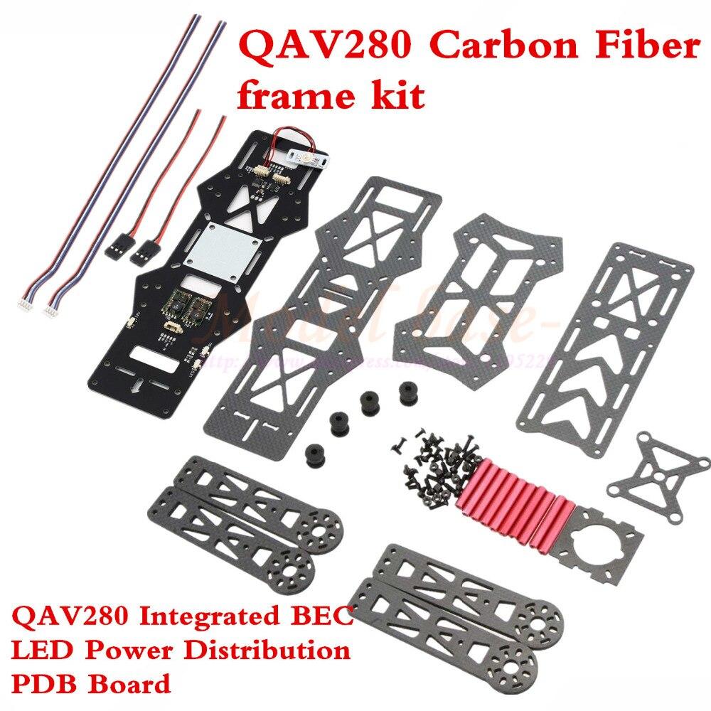 QAV280 Carbon fiber DIY Quadcopter Frame + Integrated BEC LED Power Distribution PDB Board for QAV280 FPV Quadcopter drone with camera rc plane qav 250 carbon frame f3 flight controller emax rs2205 2300kv motor fiber mini quadcopter