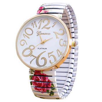 Hot Sale Fabulous Luxury Women Elasticity FlowerShrink Bracelet Quartz Wrist Watch relojes mujer Drop Shipping