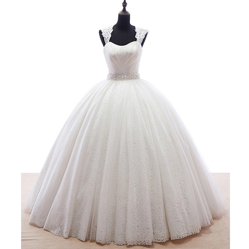 Ball Gown Vintage Princess Lace Wedding Dresses Cap Sleeve