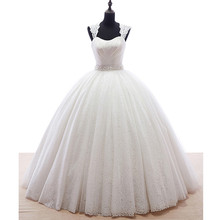 Ball Gown Vintage Princess Lace Wedding Dresses Cap Sleeve Pearls Waist Floor Length 2017 Long Bridal Gowns Custom Size