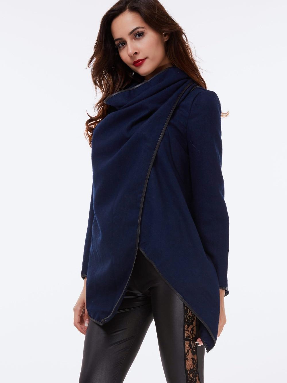 Fashion Street Black Vintage Coat Warm gray Wrap Solid Ladies navy Office Autumn Blue Overcoat Casual Winter Outerwear Trench Women Black Slim Gray qx8IwEAqt