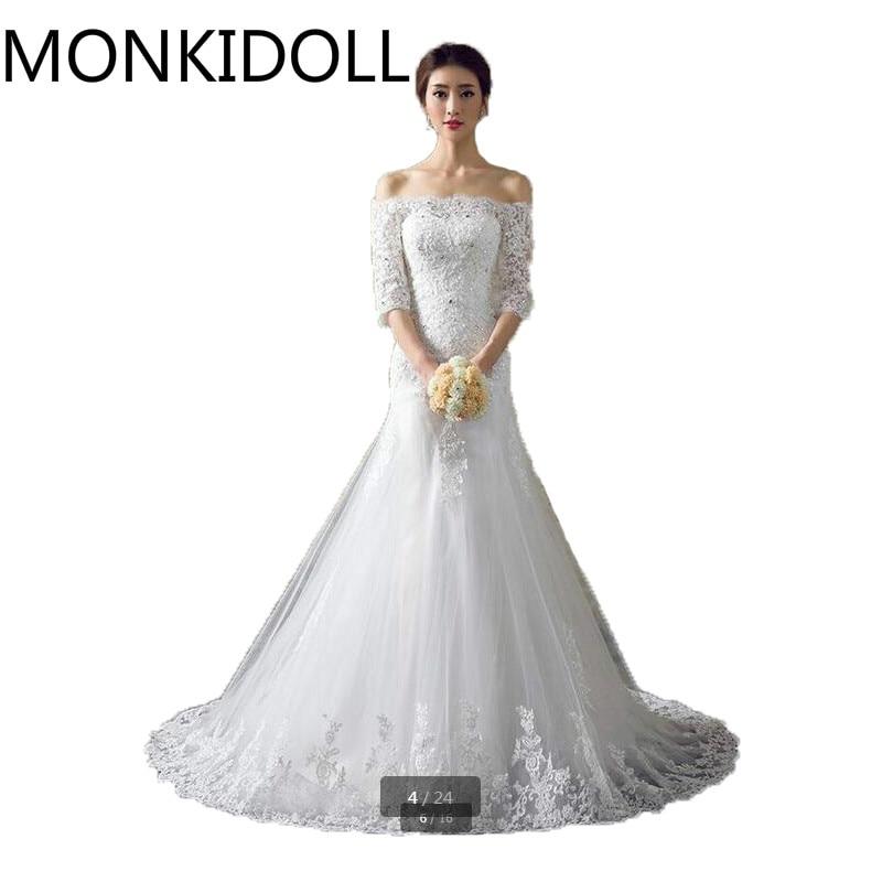 Abiti Da Sposa In Vendita.Donne Del Vestito 2017 Curvy 3 4 Sleeve Modest Abiti Da Sposa In
