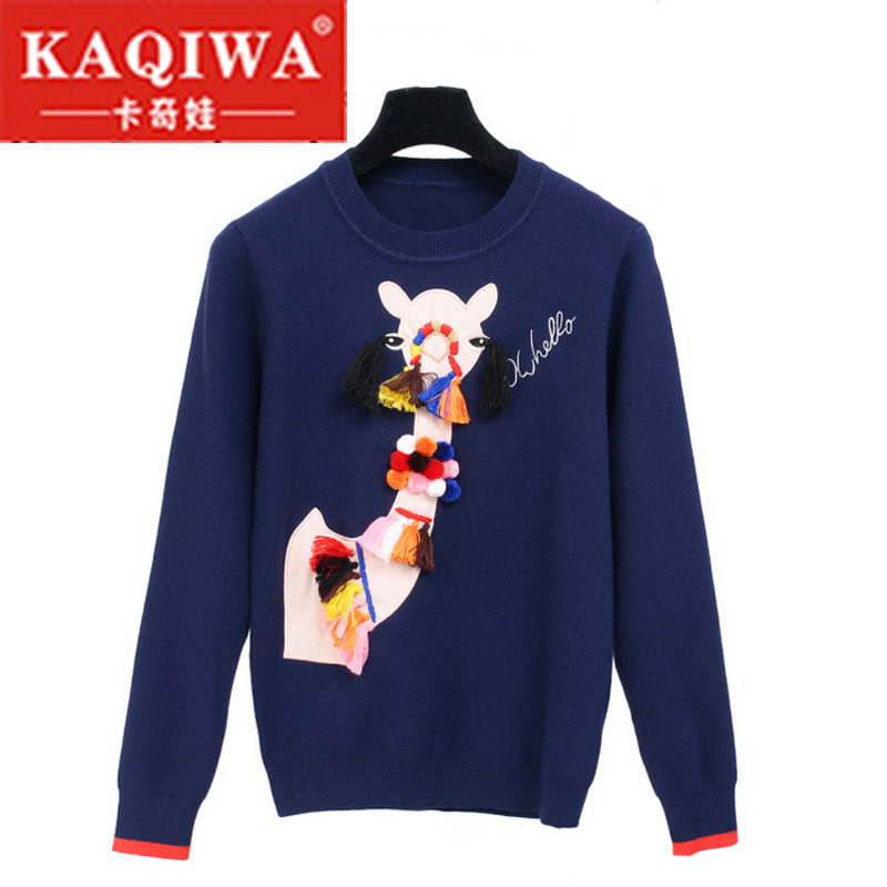 Liva Girl 2018 Autumn Winter Knitted Sweaters For Woman Tassel Ball Cartoon Camel Pullover Embroidery Comfortable Vintage